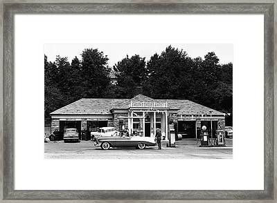Auto At Gas Station Framed Print by George Marks