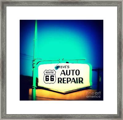 Auto Repair Sign On Route 66 Framed Print by Susanne Van Hulst