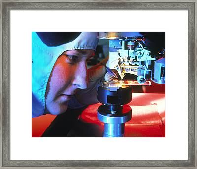 Autobonding Stage On Silicon Chip Framed Print by David Parkerseagate Microelectronics Ltd
