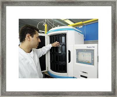 Automated Blood Bacteria Tests Framed Print by Tek Image