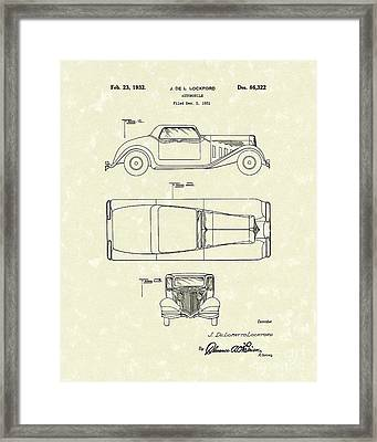 Automobile 1932 Patent Art Framed Print by Prior Art Design