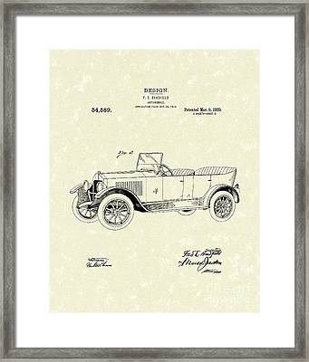 Automobile Bradfield 1920 Patent Art  Framed Print by Prior Art Design