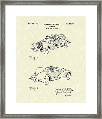 Automobile Mccelland Barclay 1932 Patent Art Framed Print by Prior Art Design
