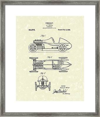 Automobile Miller 1920 Patent Art Framed Print by Prior Art Design
