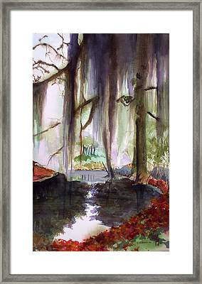 Framed Print featuring the painting Autum Bayou by Richard Willows