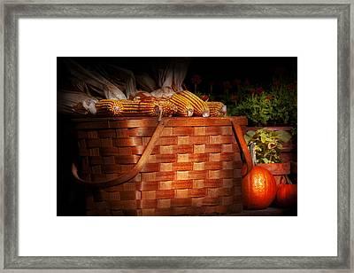 Autumn - Gourd - Fresh Corn Framed Print by Mike Savad