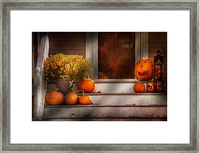 Autumn - Halloween - We're All Happy To See You Framed Print by Mike Savad