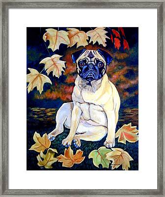 Autumn - Pug Framed Print by Lyn Cook