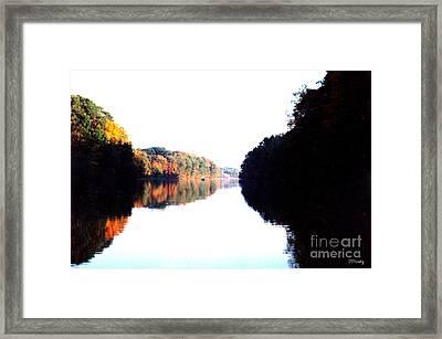 Autumn At Dusk From A Canoe Framed Print