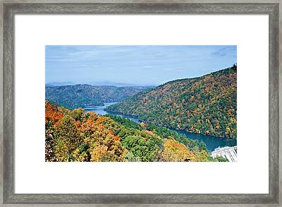 Framed Print featuring the photograph Autumn At Lake Tugalo by Susan Leggett