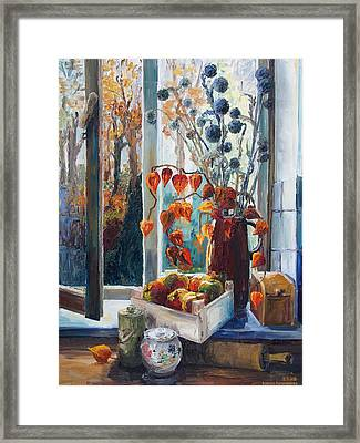 Autumn At The Kitchen Window Framed Print by Barbara Pommerenke