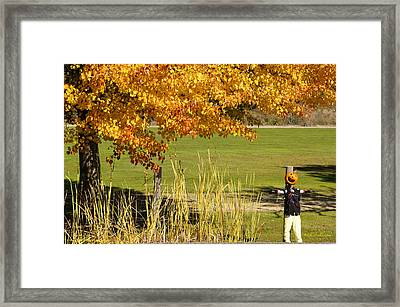 Framed Print featuring the photograph Autumn At The Schoolground by Mick Anderson