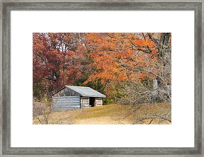 Autumn Behind The Homestead Framed Print