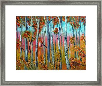 Autumn Birches. Palette Knife Oil Painting. No Brush. Framed Print
