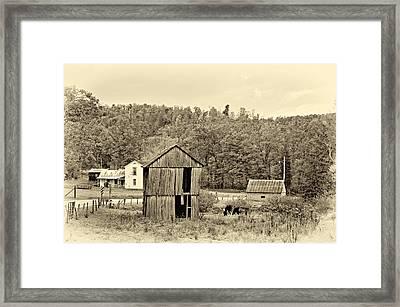 Autumn Farm Sepia Framed Print by Steve Harrington