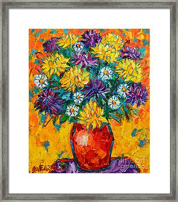 Autumn Flowers Gorgeous Mums - Original Oil Painting Framed Print by Ana Maria Edulescu
