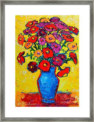Autumn Flowers Zinnias Original Oil Painting Framed Print by Ana Maria Edulescu
