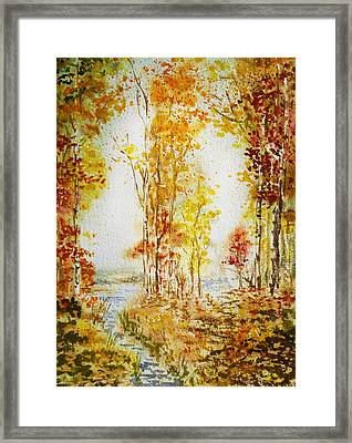 Autumn Forest Falling Leaves Framed Print
