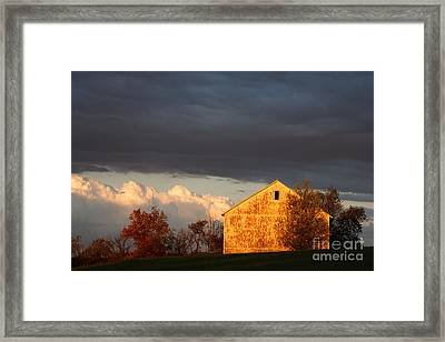 Autumn Glow With Storm Clouds Framed Print by Karen Lee Ensley