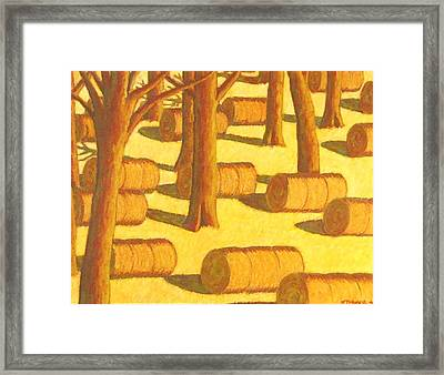 Autumn Haybales Framed Print by John  Turner