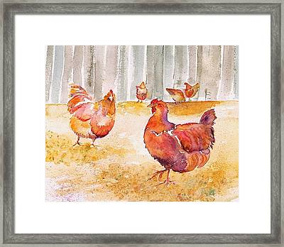 Autumn Hens Framed Print by Carolyn Doe