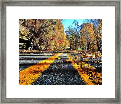 Autumn Highway Framed Print by Benjamin Yeager