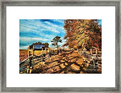 Autumn In The Gap Framed Print by Lianne Schneider