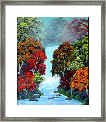 Framed Print featuring the painting Autumn Leaves by Fram Cama