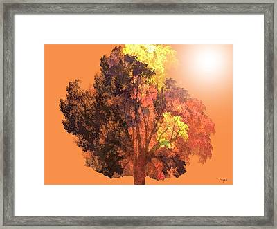 Framed Print featuring the digital art Autumn Leaves by John Pangia