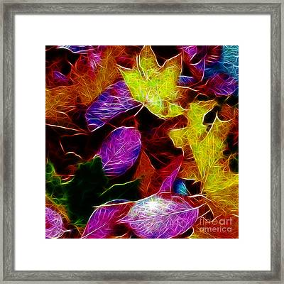 Autumn Leaves - Version 1 - Square Framed Print by Wingsdomain Art and Photography