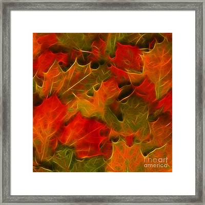 Autumn Leaves - Version 2 - Square Framed Print by Wingsdomain Art and Photography