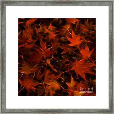 Autumn Leaves - Version 3 - Square Framed Print by Wingsdomain Art and Photography