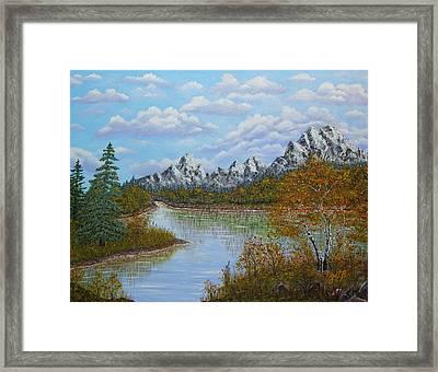 Autumn Mountains Lake Landscape Framed Print by Georgeta  Blanaru