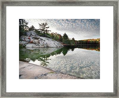 Autumn Nature Lake Rocks And Trees Framed Print by Oleksiy Maksymenko