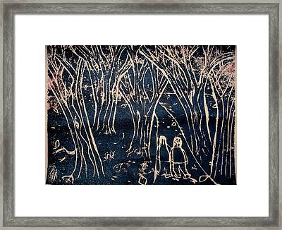Autumn Night Hike Framed Print by Ward Smith