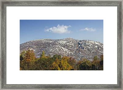 Autumn Snow On Old Rag Mountain - Virginia Framed Print