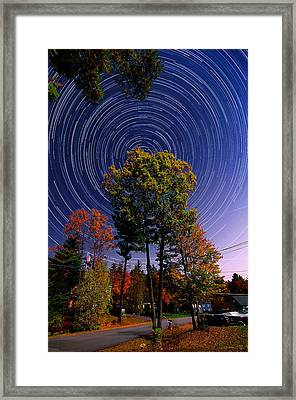 Autumn Star Trails In New Hampshire Framed Print by Larry Landolfi