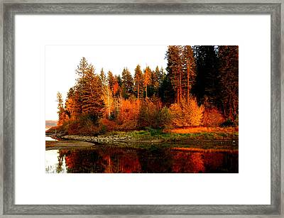 Framed Print featuring the photograph Autumn Sunset At Lake Coeur D'alene by Cindy Wright