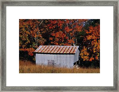Autumn View Of An Old Tin Barn Framed Print by Raymond Gehman