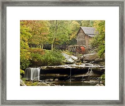 Autumn Waterfall Glade Creek Grist Mill Framed Print