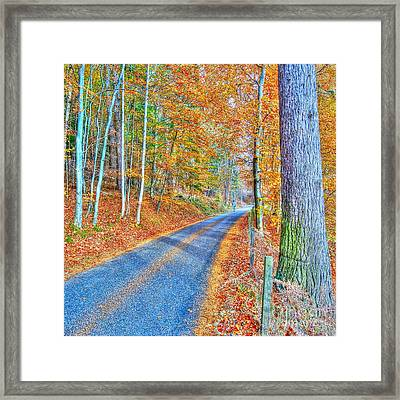 Autumns Way Bleu  Framed Print by John Kelly