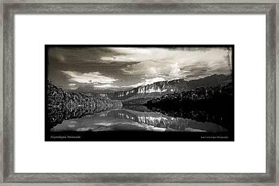 Auyantepuy Reflejado En El Rio Carrao Framed Print by Juan Carlos Lopez