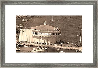 Avalon Casino In Sepia Framed Print by Paula Greenlee