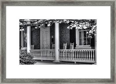 Avenel Porch - Bedford - Virginia Framed Print by Steve Hurt