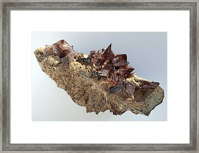 Axinite Crystals Framed Print by Dirk Wiersma