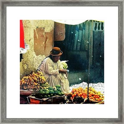 Aymara In La Paz Bolivia Framed Print