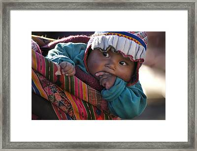 Aymara Indigenous Boy Charged By Your Mother. Department Of Potosi. Republic Of Bolivia.  Framed Print