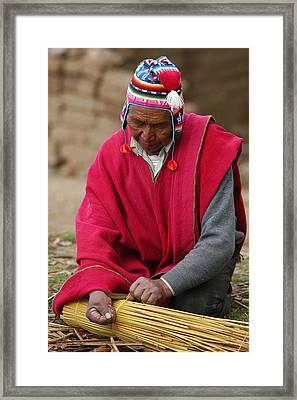 Aymara Native Spinning A Of Totora Rafts. Republic Of Bolivia. Framed Print