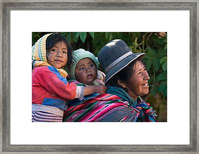 Aymara Women With Their Children. Republic Of Bolivia. Framed Print by Eric Bauer