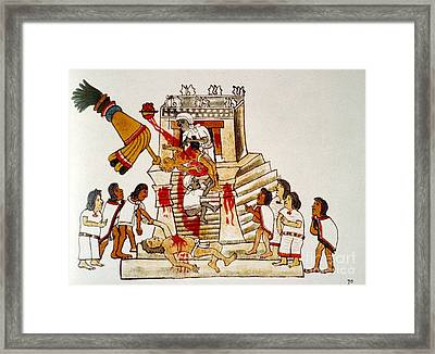 Aztec Human Sacrifice, Codex Framed Print by Photo Researchers